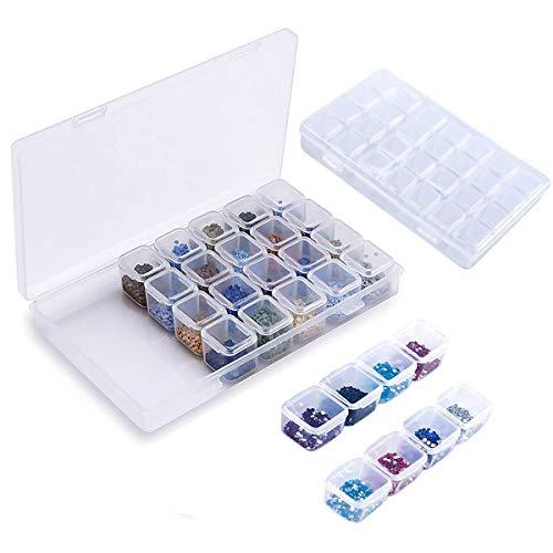 Zubehörteil Aufbewahrungsbox, 28 Fächer Kunststoff Herausnehmbares Gitterfach Für Schmuck Perlen Ohrring Werkzeugbehälter Klar