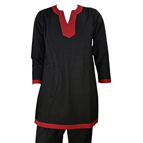 Epic Armoury Armor Venue: Medieval Tunic - Costume Shirt LARP Black w/Red Trim X-Large