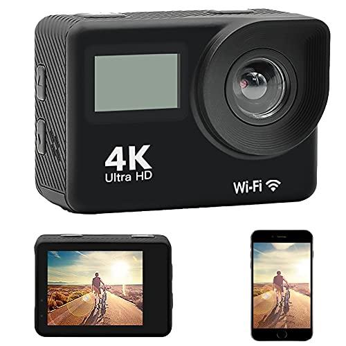 Action CAM 4K 20MP WiFi 30M Cámara subacuática Impermeable Cámara Deportiva EIS con videocámara HD DV de Gran Angular de 170 ° con cámara de Casco con Control Remoto de 2.5HZ