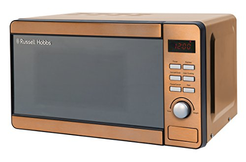 Russell Hobbs RHMD804CP 17 L 800 W Copper Solo Digital Microwave with 5 Power Levels, Clock and Timer, Automatic Defrost, Easy Clean, 8 Auto Cook Menus