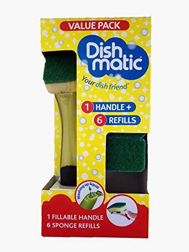 Dishmatic - Esponja de lavar los platos, con mango dispensador de jabón, 1 mango rellenable negro y 6 recambios de esponja verdes