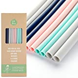 """18 Pcs Silicone Straws - Reusable Silicone Drinking Straws for 30oz and 20oz Tumblers 8.7"""" Straight BPA Free Straws with Cleaning Brushes"""