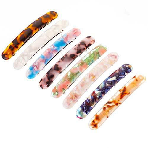BFACCIA 8Pcs Francesi Fermagli in Acrilico Marmo Fermagli Macaron Barrette Eleganti Antiscivolo Leopardo Glitter Tartaruga Forcina Accessori per Capelli 8.5 * 1.2cm