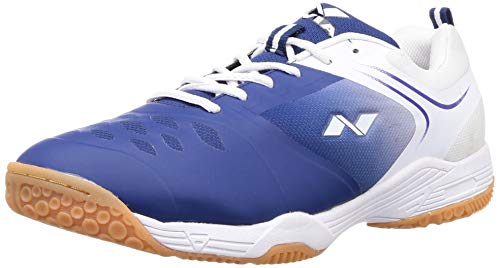 Nivia HY-Court 2.0 Badminton Shoes for Men, Blue/White - 8 UK