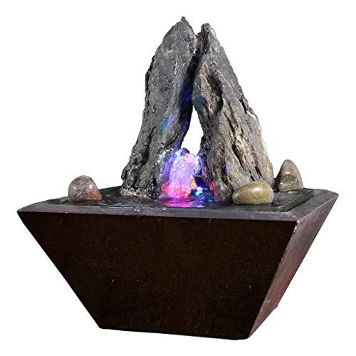 zxb-shop Fuente Fuente de Agua de sobremesa Fuente de Roca de Textura Natural y luz LED de Color - Decoración del Patio de la Oficina en casa Interior