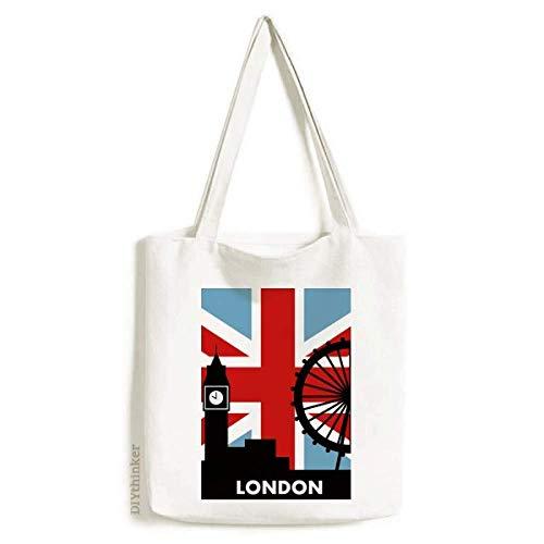 Britain Union Jack London Eye Big Ben Flag UK sacola de lona bolsa de compras casual bolsa de mão