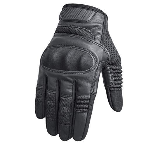 Guantes de Motocicleta Verano Táctico Táctico Táctico Finger Moto Moto Pantalla Táctil Motocross Motocross Montando Ciclismo Biker Guantes 319 (Color : Black, Size : Medium)