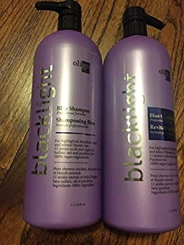Oligo Blacklight Blue Shampoo & Conditioner DUO Set - Professional Formula for highlighted bleach white and natural blonde hair  with Sleek Compact Mirror   32 oz / 1000ml - large liter DUO