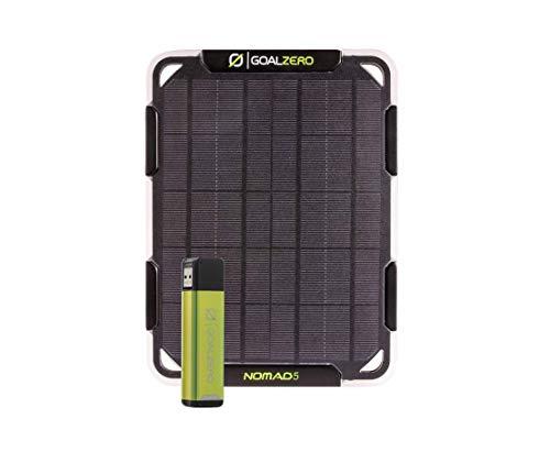 Goal Zero Flip 12 Solar-Lade-Set mit Nomad 5 Solarpanel, minimales Gewicht, Powerbank und Solarpanel in einem praktischen Set, hält Handys und andere kleine USB-betriebene Geräte überall aufgeladen