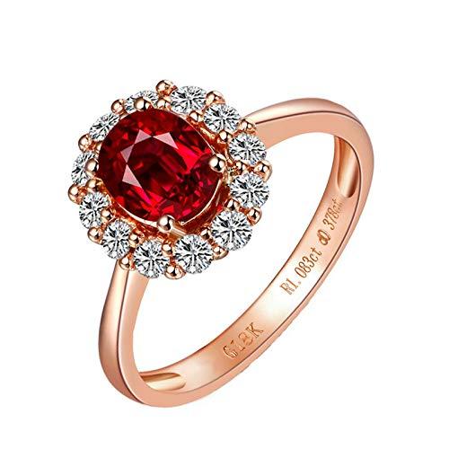 Bishilin Anillo de Oro Rosa 750 Reales Clásico Bandas de Boda Rojo Rubí Diamante Aniversario de Las Bandas de Anillos de Compromiso Forma Ovalada Joyas con Estilo Regalo de Amistad Presente Rojo