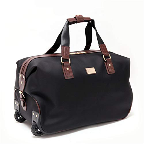 MICEROSHE Practical Luggage Bag Ladies Travel Holdall Bags Foldable Travel Bag Wheeled Light Weight Zipped Front Pocket Multifunction (Color : Black, Size : 47X24X27CM)