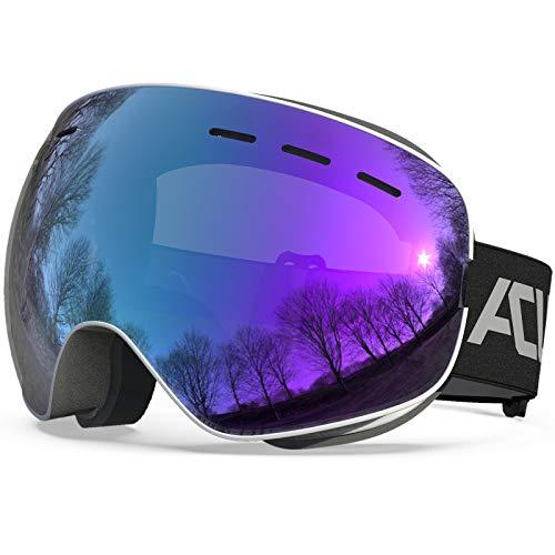 ACURE Skibrille, Rahmenlose Snowboard Brille OTG Kompatibler Helm Anti Fog UV400-Schutz Skibrillen für Brillenträger Herren Damen Erwachsene Jugendliche