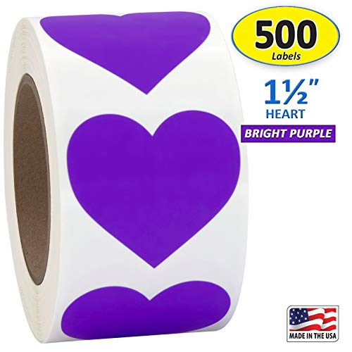 Purple Heart Shaped Sticker Labels, 1 1/2' Diameter, 500 per Roll, 1.5 inch