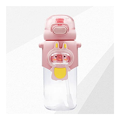 Cantimploras Y Botellas De AguaTaza De Agua Pink Girl Heart Diagonal Portátil De Paja para Niños Práctica Taza Sin BPA Cuerpo De Taza con Escala (Color : Pink)