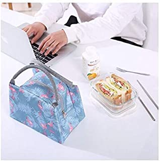 Flamingo Lunch Bags Women Portable Functional Canvas Stripe Insulated Thermal Food Picnic Kids Cooler Lunch Box Bag Tote