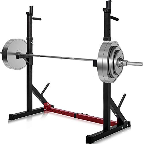 Merax Barbell Rack 550LBS Max Load Adjustable Squat Stand Dipping Station Gym Weight Bench Press Stand (Black/Red)