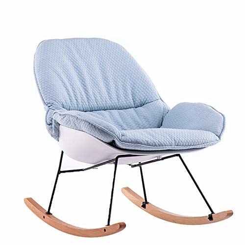 BoeWan Rocking Chairs Patio Seating Reading Lounge Chair Comfortable Rocking Chair Leisure Chair with Cotton Pad (Color : Sky Blue, Size : M)