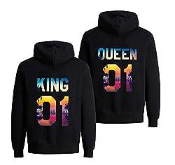 King Queen Pullover Partner Pullover Valentinstag Couple Geschenke Pärchen Hoodie Partnerlook Pulli für Paar Liebespaar Mr Mrs Shirt 1 Stück