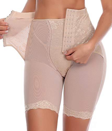COMFREE Braguitas Moldeadoras Medias Adelgazantes Abdomen Ropa Interior Más Delgada del Muslo Reductora Levanta Aluteos Lencería Ajustable de Cintura Alta Pantalón Shapewear para Mujer Beige XL
