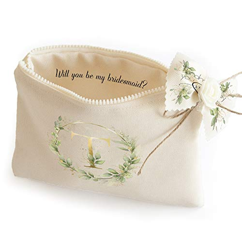 Sac cosmétique pour demoiselle d'honneur - Personnalisé Will you be my demoiselle d'honneur cadeau de mariage fête sac de maquillage trousse de voyage (lettre T)