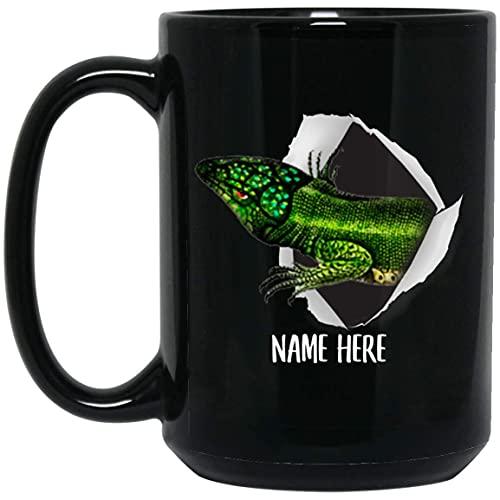 N\A Taza de café Negra con Nombre Personalizado de Lagarto 2 Personalizado Divertido