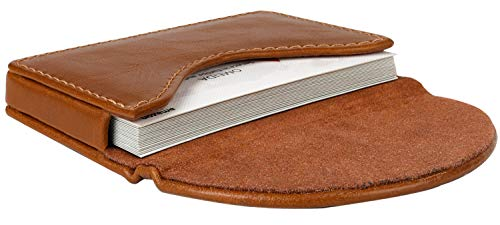 MaxGear Leather Business Card Holder Case for Men or Women Name Card Case Holder with Magnetic Shut Color Light Coffee, Holds 25 Business Cards