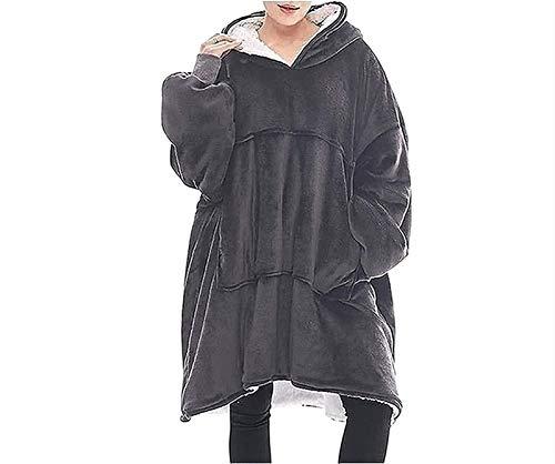 Manta con capucha, sudadera de sherpa de gran tamaño, manta para llevar, sudadera con capucha súper suave, jersey cálido y acogedor, talla única, regalo para mujeres, niñas, adultos ( Color : Gray )