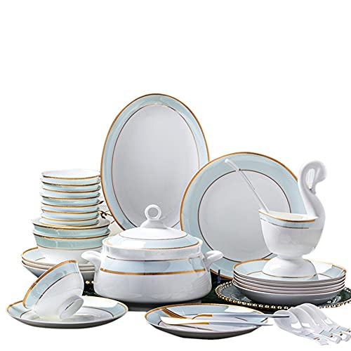 30,56,60PCS Ceramic Dinnerware Set Bone China Tableware Dishes Plates...