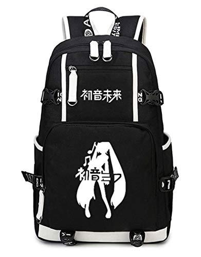 Cosstars Hatsune Miku Luminoso Mochila Escolar Estudiante Bolso de Escuela Backpack Mochila para Portátil Negro-5