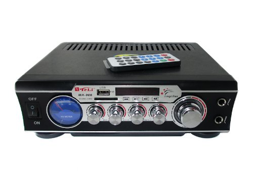 AMPLIFICATORE AUDIO STEREO DISPLAY DIGITALE MICROFONI USB SD MP3 RCA FM