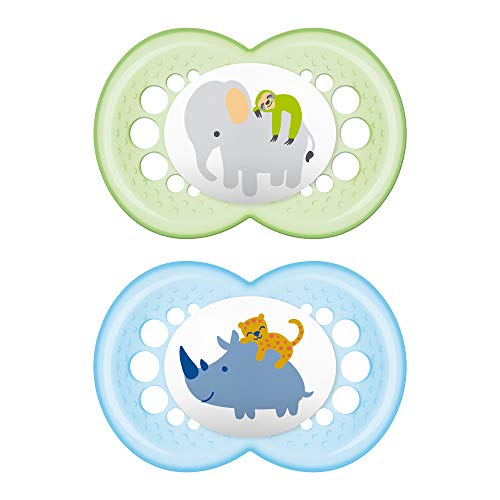 MAM Animal Pacifier (2 pack, 1 Sterilizing Pacifier Case), Pacifiers 6 Plus Months, Baby Pacifiers, Baby Boy, Best Pacifiers for Breastfed Babies, Sterilizing Storage Case