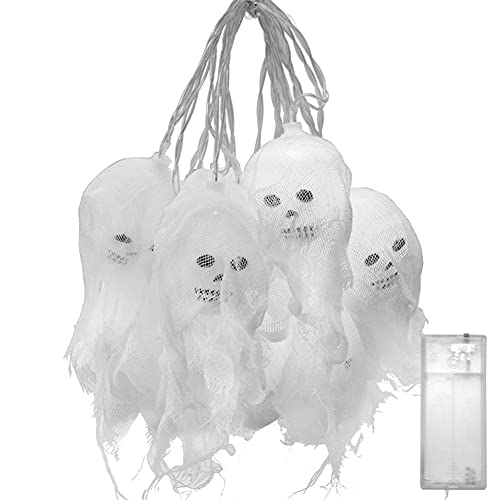 Diadema de Halloween Halloween Pumpkin Ghost Skeletones Bate Araña LED Luz Festival Bar Casa Party Decoración Halloween Adorno Props Accesorios de Halloween Horror Decoraciones (Color : White Light)