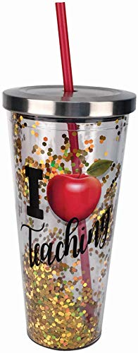 Spoontiques Teacher Glitter Cup With Straw, 20 ounces, Gold