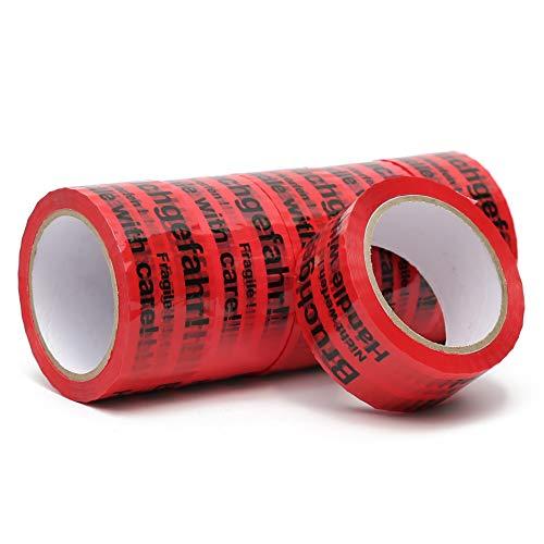 Klebeband - Packband - Paketband mit Hinweis auf Tape (Bruchgefahr - Achtung nicht werfen - Vorsicht zerbrechlich Glas - handle with care – Fragile) (6)