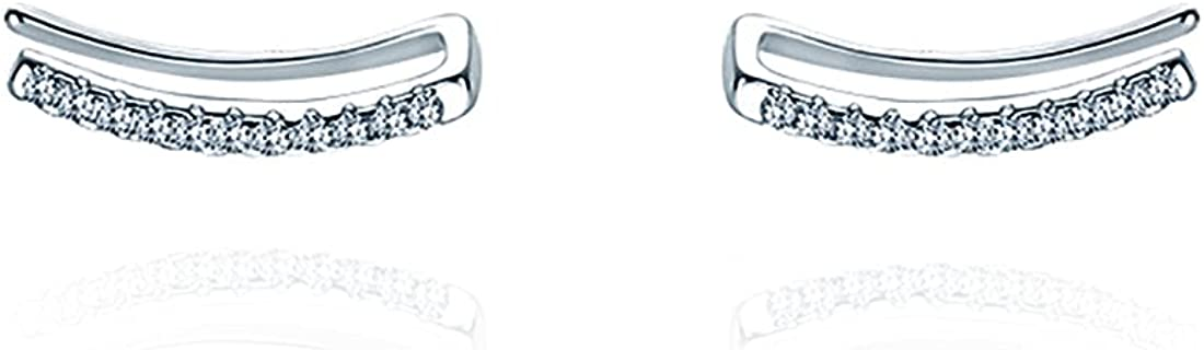 Reffeer Quality inspection CZ Bar Crawler Challenge the lowest price of Japan ☆ Earrings Earring 925 Sterling Cuff Silver
