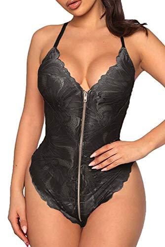 EVELIFE Body Mujer Sexy Lenceria Encaje Transparente Eróticas Profundo V Ropa Interior Teddy Lingerie (Negro Large)