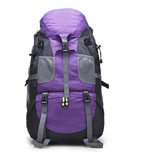 Sac à Dos IBHT limitée Hot Vente 50L, Grande Randonnée Waterproof Trekking Sac à Dos, Sac Housse de Pluie, Camping Randonnée Sac à Dos, Sports de Plein air Sac à vélo 1 (Color : Purple)