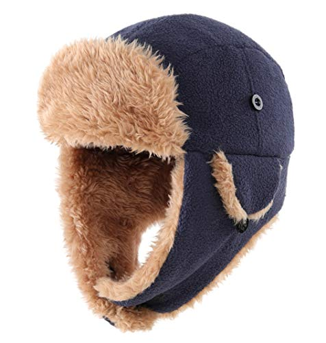 Connectyle Baby Boys Trooper Trapper Hat Windproof Sherpa Lined Winter Ski Hat with Ear Flap Cap Navy