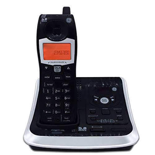 ZYFA Teléfono Fijo Teléfono inalámbrico con contestador automático, Pantalla LCD roja Naranja, 3 configuraciones de Idioma, Oficina en casa.Auricular único, Negro (Color : Black)