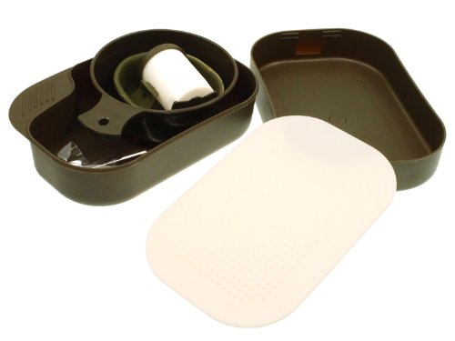Fibega 9-teiliges Essgeschirr aus Kunststoff, olive (kompakt, platzsparend & stabil aufgebaut)