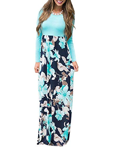 AUSELILY Women Long Sleeve Loose Plain Maxi Dresses Casual Long Dresses with Pockets (XS, Light Blue)