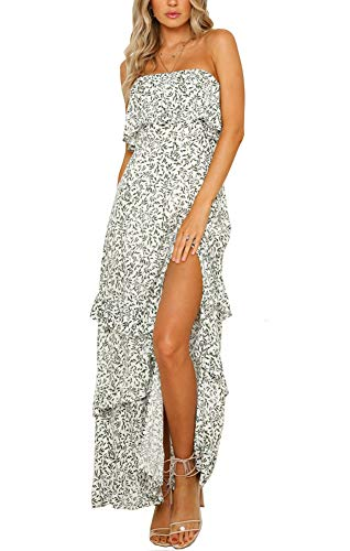 Zattcas Maxi Dresses for Women Summer Floral Off Shoulder Long Party Maxi Dress Olive Medium