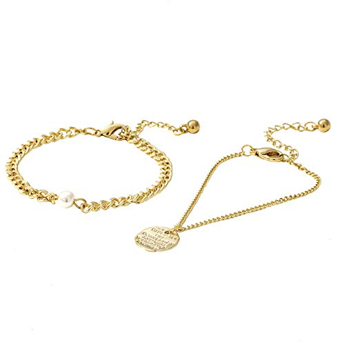 N/A Armbandschmuck Armband Set Münze Armband Kupfer Gold Armreif Vintage minimalistischen Schmuck für Mädchen Frauen Geburtstag Valentinstag Geburtstagsgeschenk