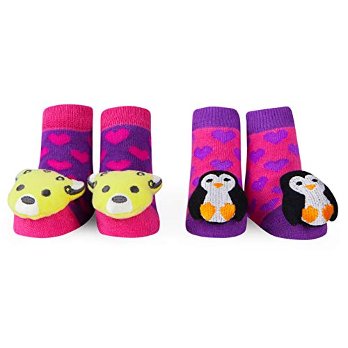 Waddle Girls 2 Pack Rattle Penguin and Cheetah Baby Socks Baby Bootie Pink 0-12M