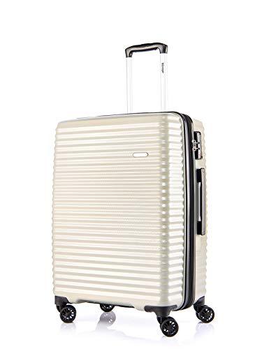 Verage Vortex 4-Doppel-Rollen Trolley, TSA Schloss, Reisekoffer erweiterbar, großer Hartschale-Koffer L-28 75cm, Beige