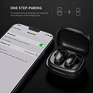 Wireless Earbuds, Bluetooth Headphones 5.0 Strong Bass Hi-Fi Stereo Headset 20H Game Time with Charging Case IPX5 Waterproof Built-in Mic,Three Size Ear Tips, Suitable for Sports Running(Black)