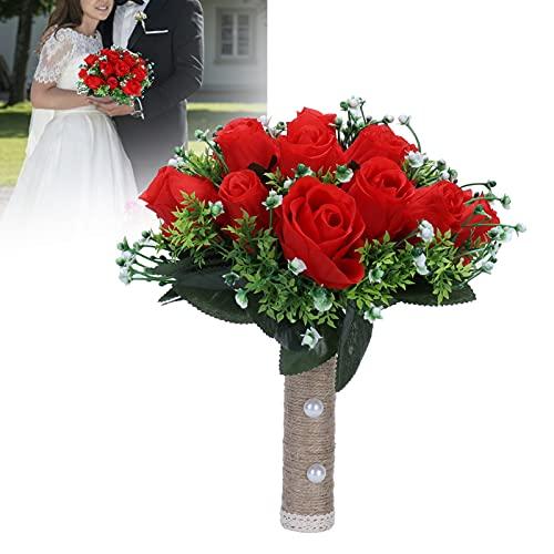 CUEA Ramo Artificial, Manojo de Flores Rojas Seda sin Color Artificial para Boda para Sala de Estar para Escenario