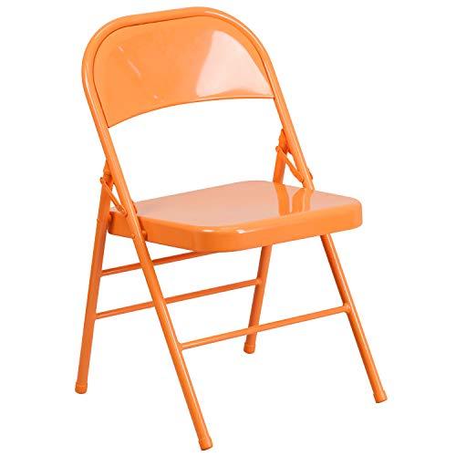 Flash Furniture HERCULES COLORBURST Series Orange Marmalade Triple Braced & Double Hinged Metal Folding Chair