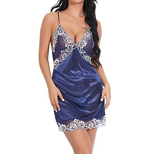 Set di pigiami da donna, sexy, in pizzo, babydoll, con scollo a V e collo, G-Bleu, L