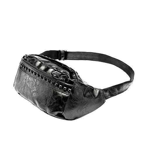 Bolsa De Cintura De Los Hombres De La PU Piel para Las Caderas del Vago Bolsa Multifunción Paquete para Viajar Senderismo Fitness Comercial Al Aire Libre Deportes (Negro)